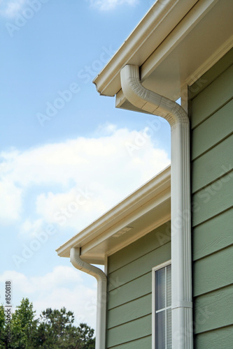 rain gutters on a home