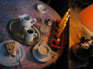 cozy coffee + cake table