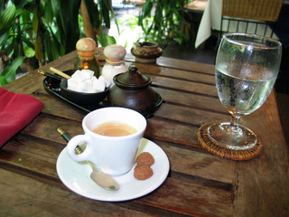 tropical breakfast with a freshly brewed espresso!