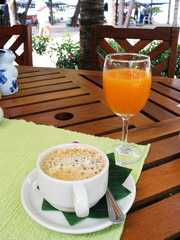 cappuccino and orange juice!
