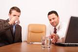 two business men having break for drinking water poster