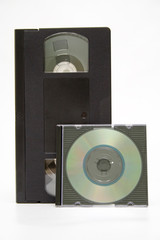 vhs cassette and cd disc