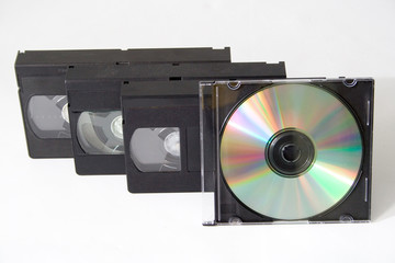 vhs cassettes and cd disc