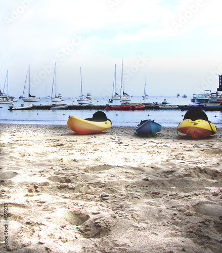 kayaks on a shady beach, isthmus, catalina island