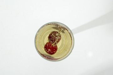 champagne with cherry