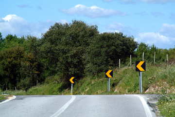 curve to the left on road
