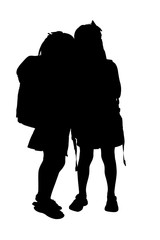 silhouette with clipping path of school girls