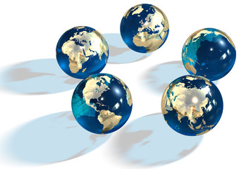 5 goldy blue marbles showing continents