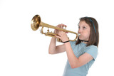 young pre teen girl playing trumpet 1 poster