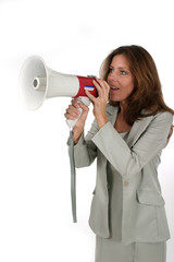 attractive business woman with megaphone 1