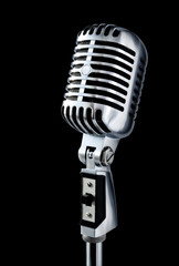 vintage microphone over black