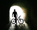biker on bicycle poster
