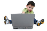 boy using laptop with clipping path poster