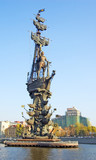 monument to peter the great on moscow-river poster