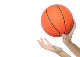 hands throwing or catching a basketball ball isolated poster
