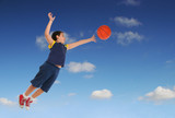 boy playing basketball jumping and flying poster
