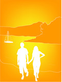 romantic couple on susnet beach poster