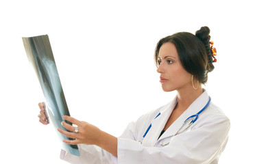 doctor or medical professional analysing a patient's x-ray