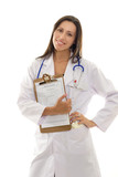 attractive smiling doctor with health record document poster