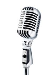 retro microphone over white
