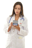 medical practitioner using a portable device with medical softwa poster