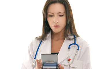 doctor referencing information on a portable device