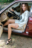 sexy business woman getting out of car 1 poster