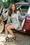 sexy business woman getting out of car 4 poster