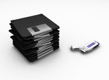usb pen drive and floppy disks poster
