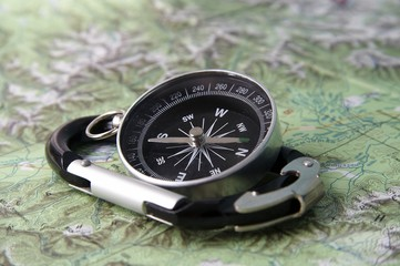 compass and carabiner