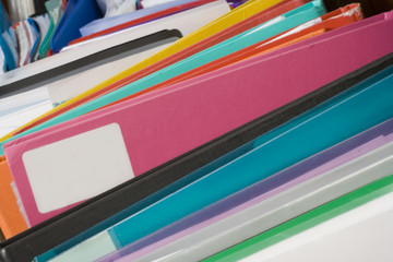boxes of multi-coloured folders