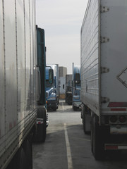 tractor trailers parked