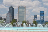jacksonville,florida,fountain,river,bridge,citysca poster