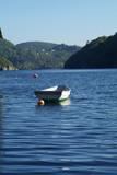 dinghy in norwegian fjord poster