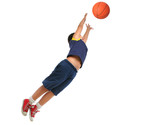 boy playing basketball isolated. flying and jumping poster