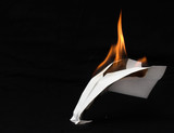 paper airplane in flames poster