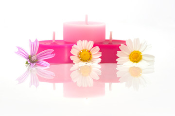 colorful candles with flowers