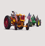 modern communications vs. antique tractors poster