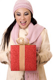 delightful surprise - female holding a large red and gold gift poster