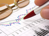 business chart, glasses and pen poster