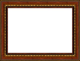 antique rustic woden picture frame isolated poster
