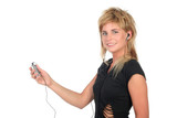 woman with mp3 player poster
