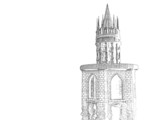 castle pencil sketch poster