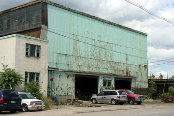 rusty old factory building