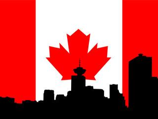 vancouver skyline against canadian flag