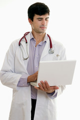 male doctor with laptop computer