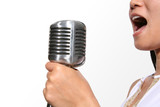 singing (focus on microphone) poster