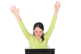 woman with computer cheering poster