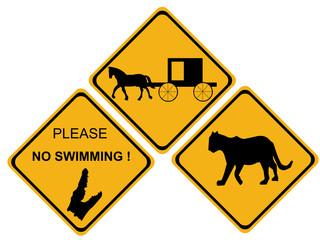 alligator hazard sign
