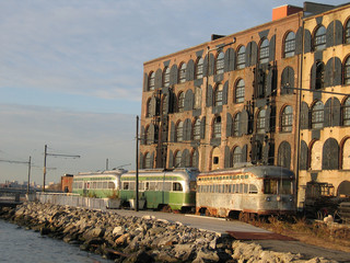 old warehouses trolly cars